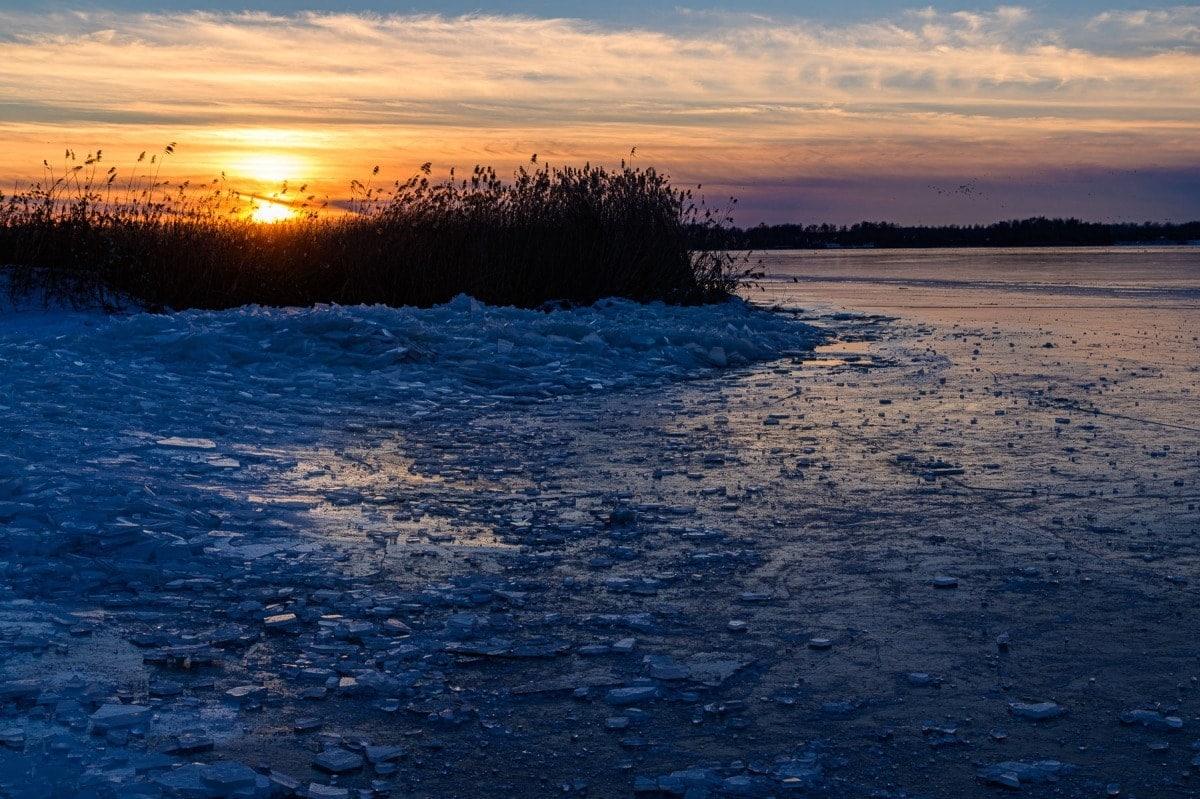 ijzige zonsondergang
