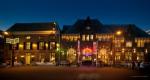 panorama Dudok en Arnhems meisje in de schemering nachtfotografie