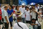 op het plein in Jiaxing voor de eclips
