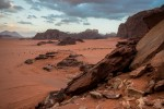 view from a sanddune om wadi rum mountains